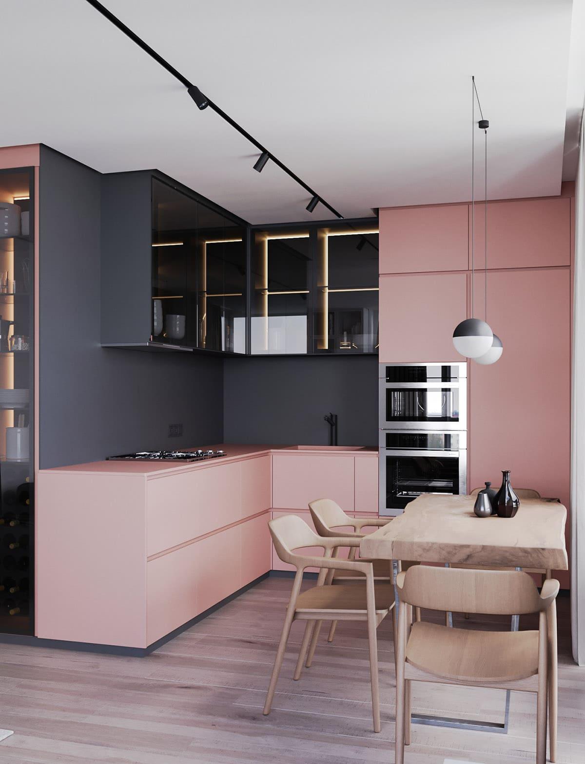 дизайн в серо-розовых тонах фото 2