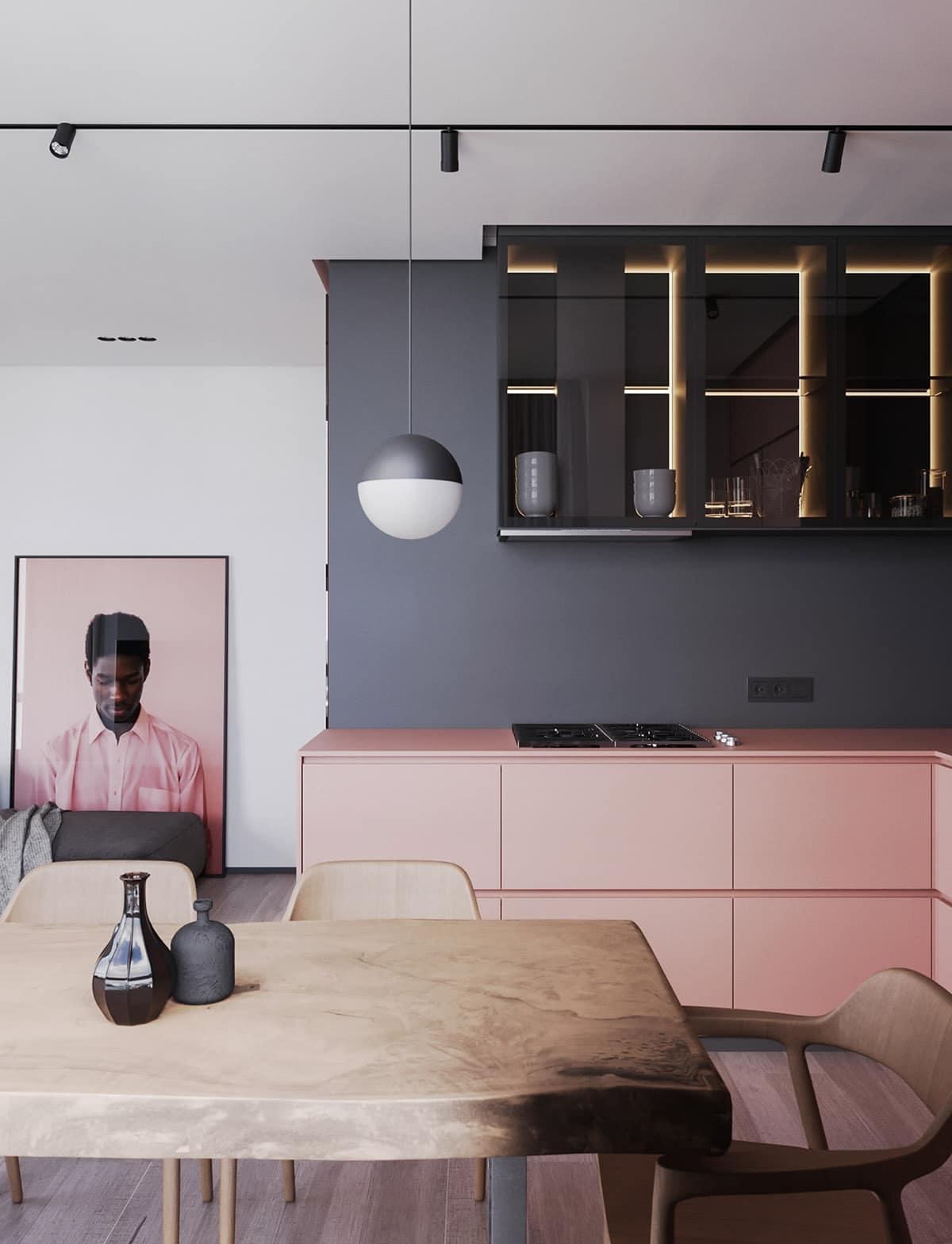 дизайн в серо-розовых тонах фото