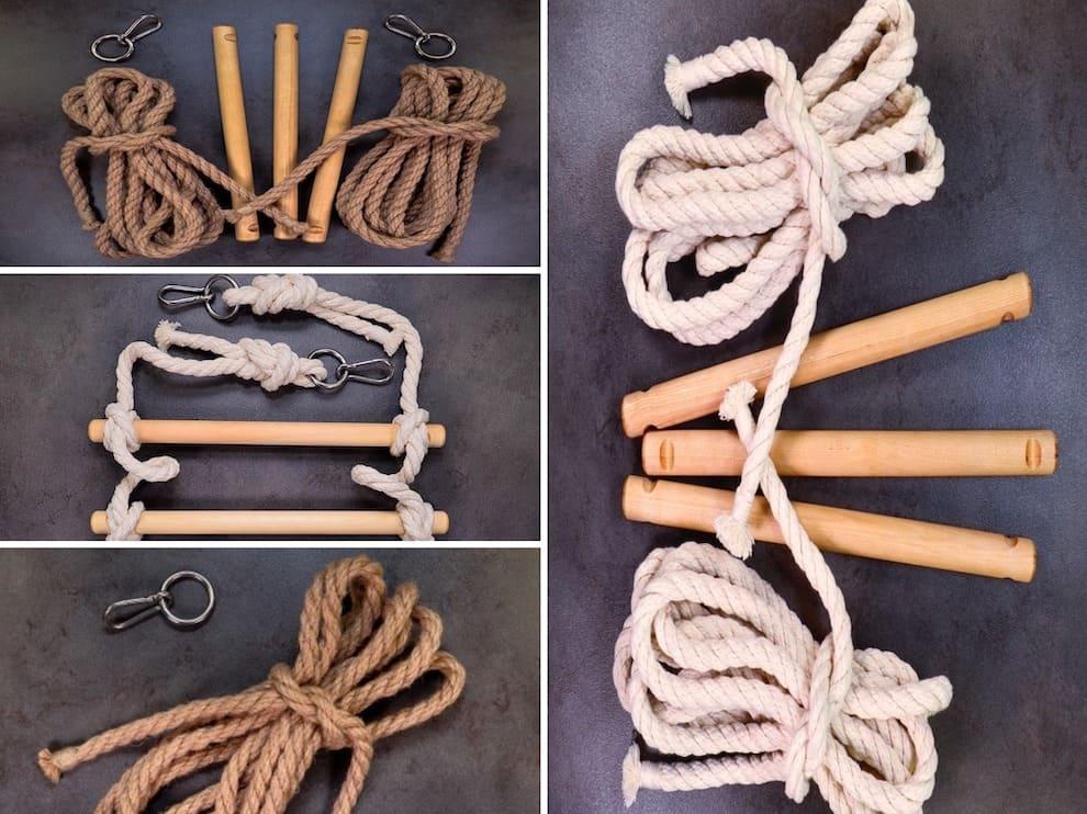 Лестница из веревки очень проста в изготовлении