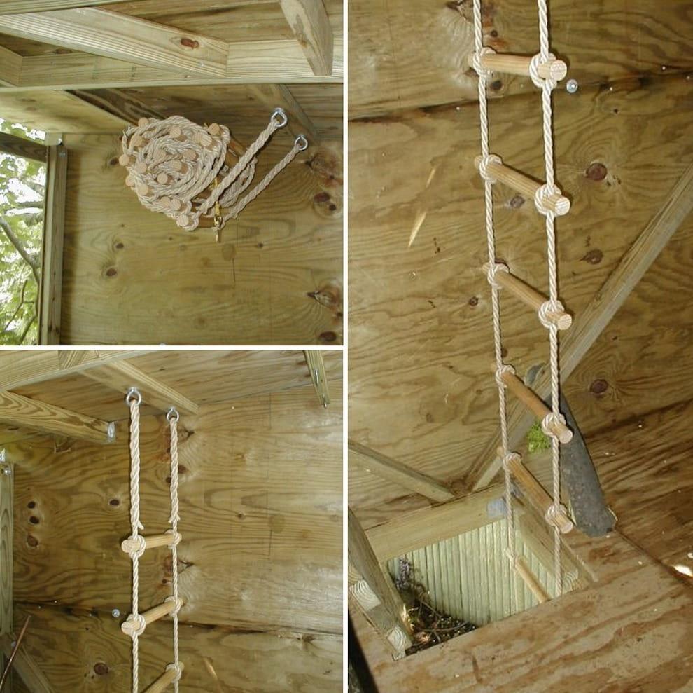 Лестница на веревке – очень лёгкая и удобная