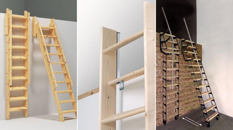 Варианты установки лестницы, складывающийся вдоль стены