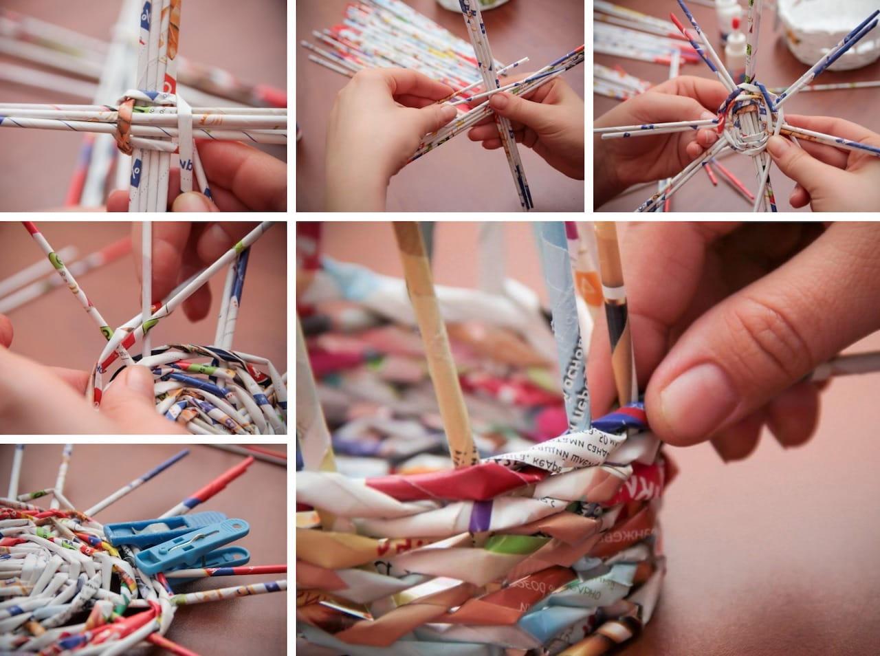 Мастер-класс по плетению корзинки из газетных трубочек