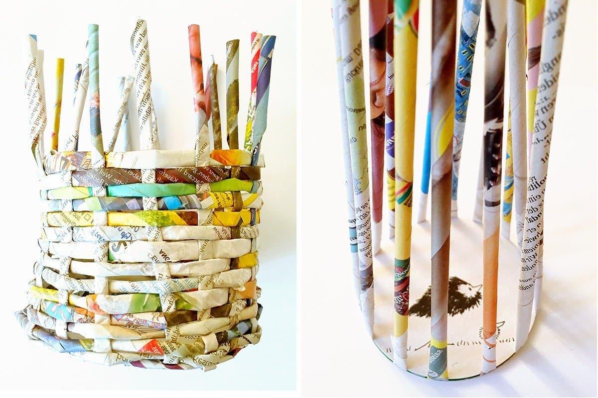 Если у вас есть хоть немного опыта в плетении различного декора из бумажных трубочек, на создание такого стаканчика у вас уйдет не больше часа