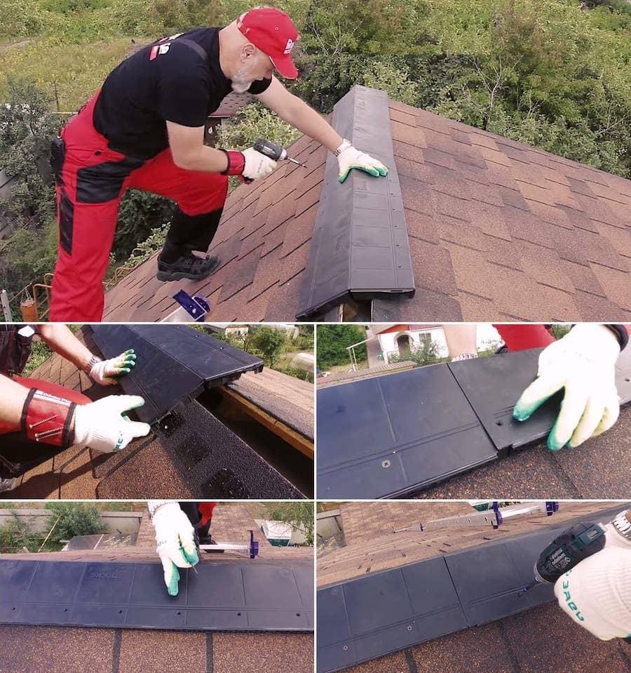 Установка конькового аэратора на крыше с гибкой черепицей