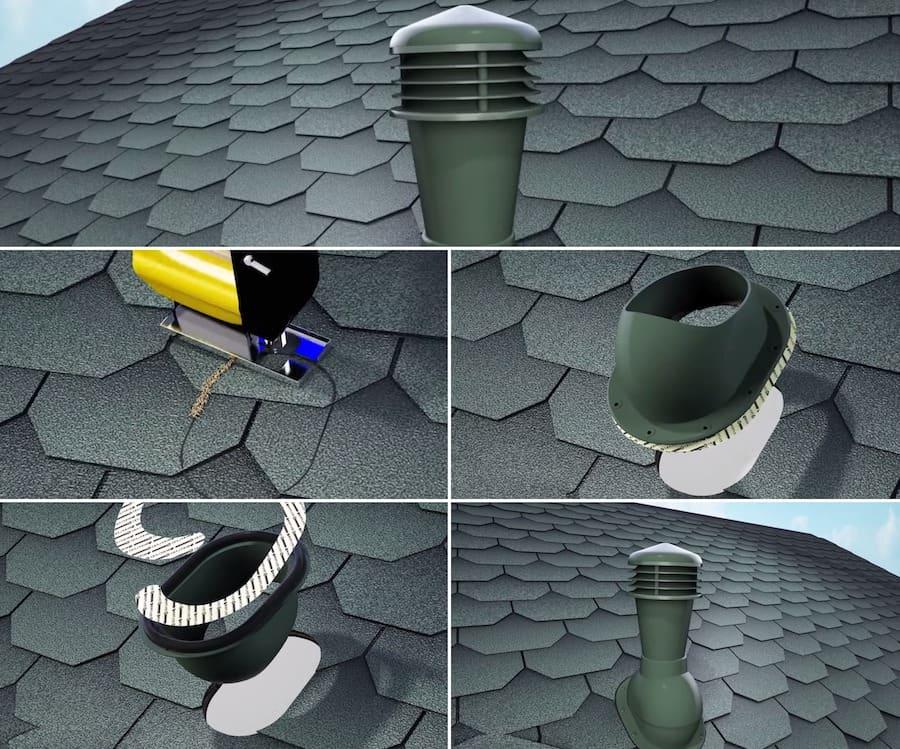 Монтаж точечного аэратора на скат крыши с мягкой кровлей