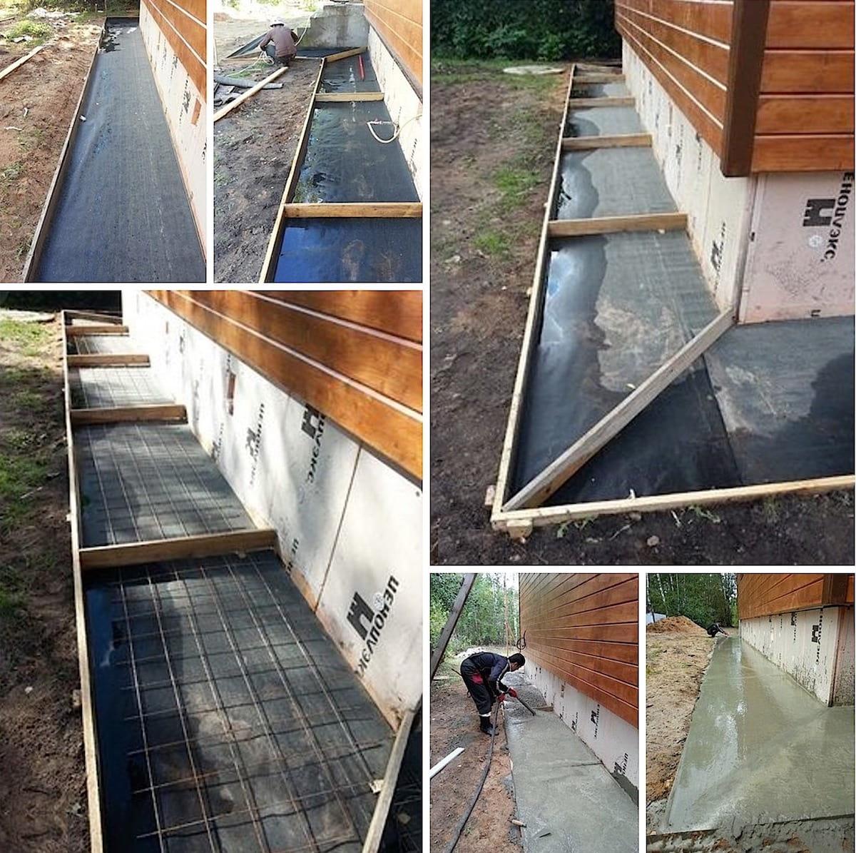 Правильная отмостка – это разметка, обустройство опалубки, армирование и качественный бетон