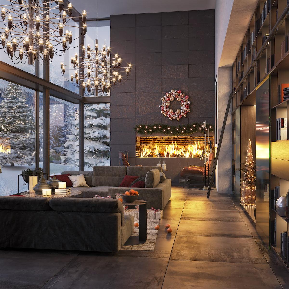 камин в интерьере гостиной фото 36