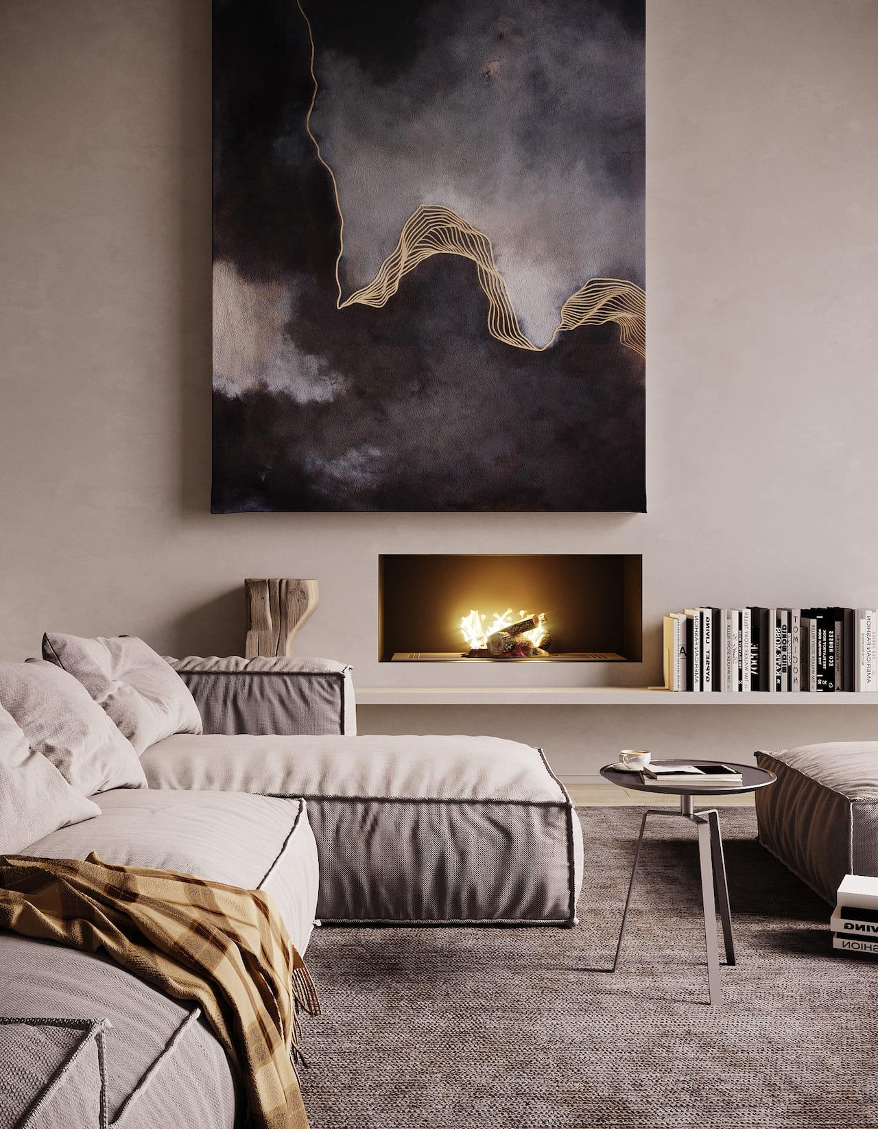 камин в интерьере гостиной фото 37