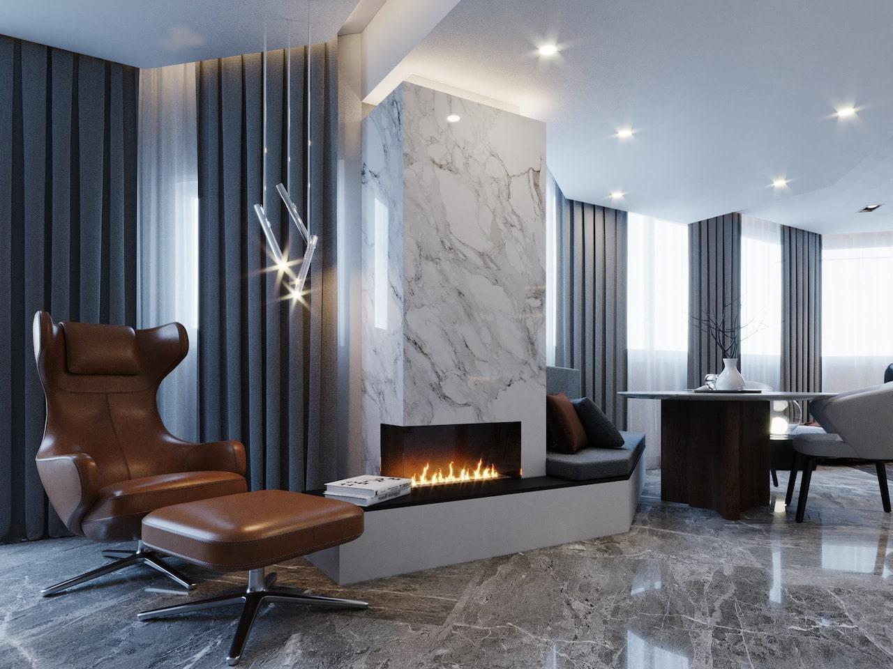 камин в интерьере гостиной фото 21
