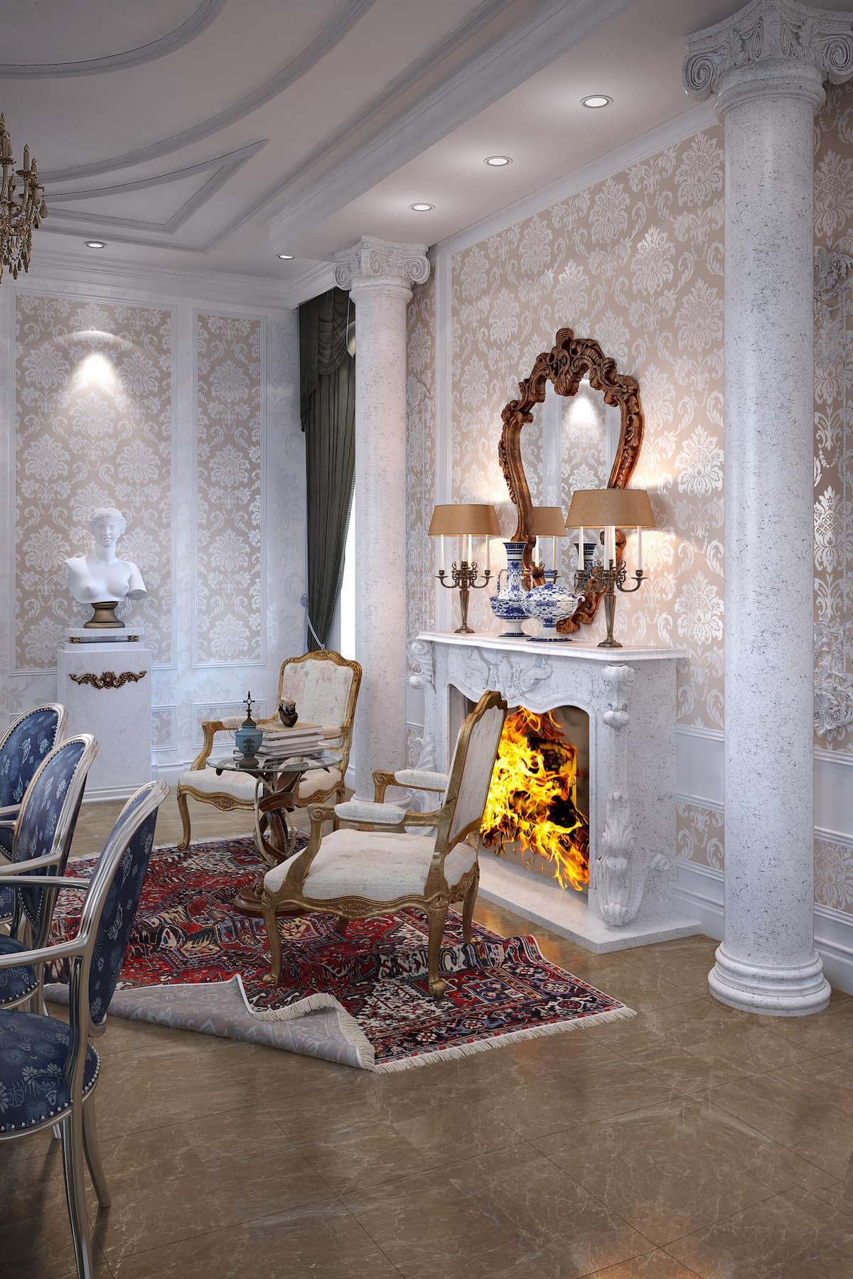 камин в интерьере гостиной фото 23