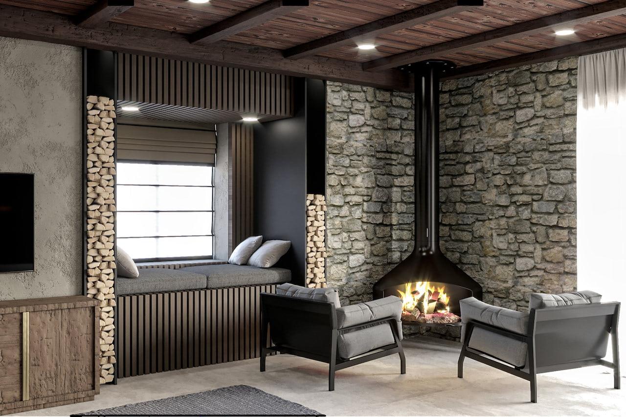 камин в интерьере гостиной фото 39