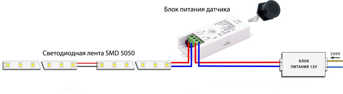 Схема установки датчика