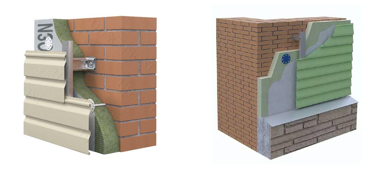 Схема создания теплоизоляционного пирога кирпичной стены