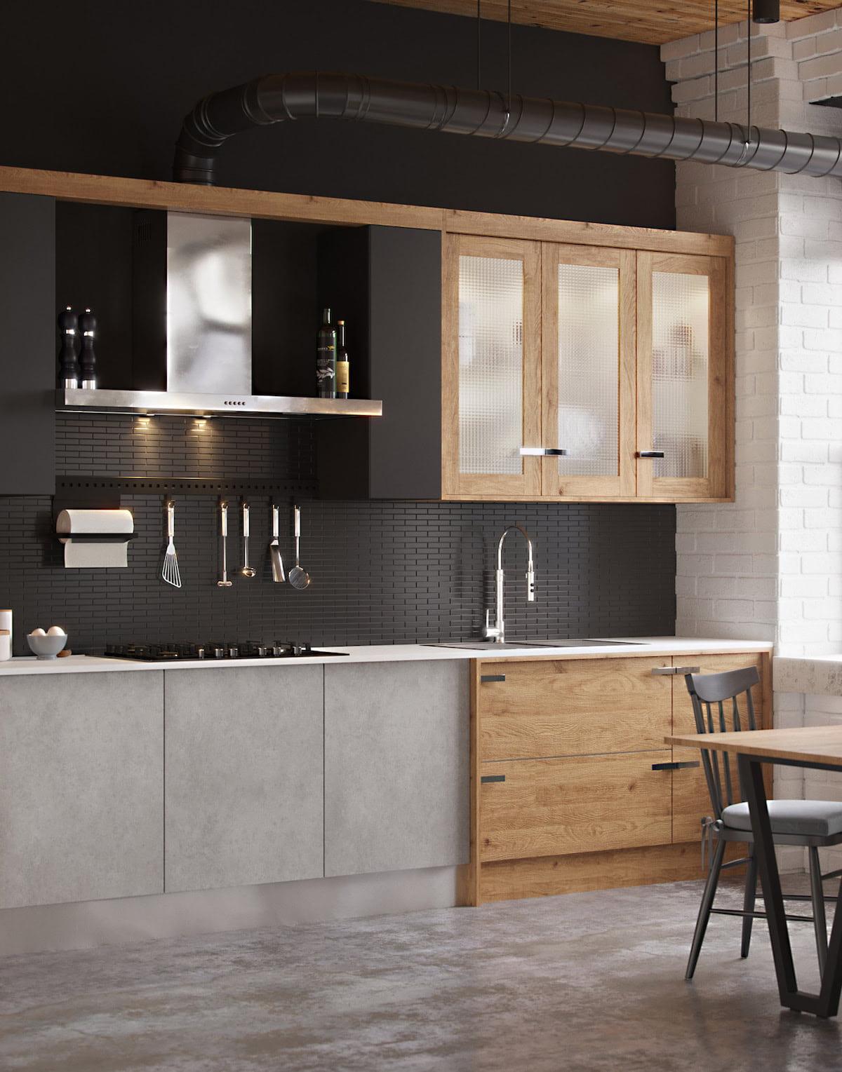 Брутальная кухня в стиле лофт