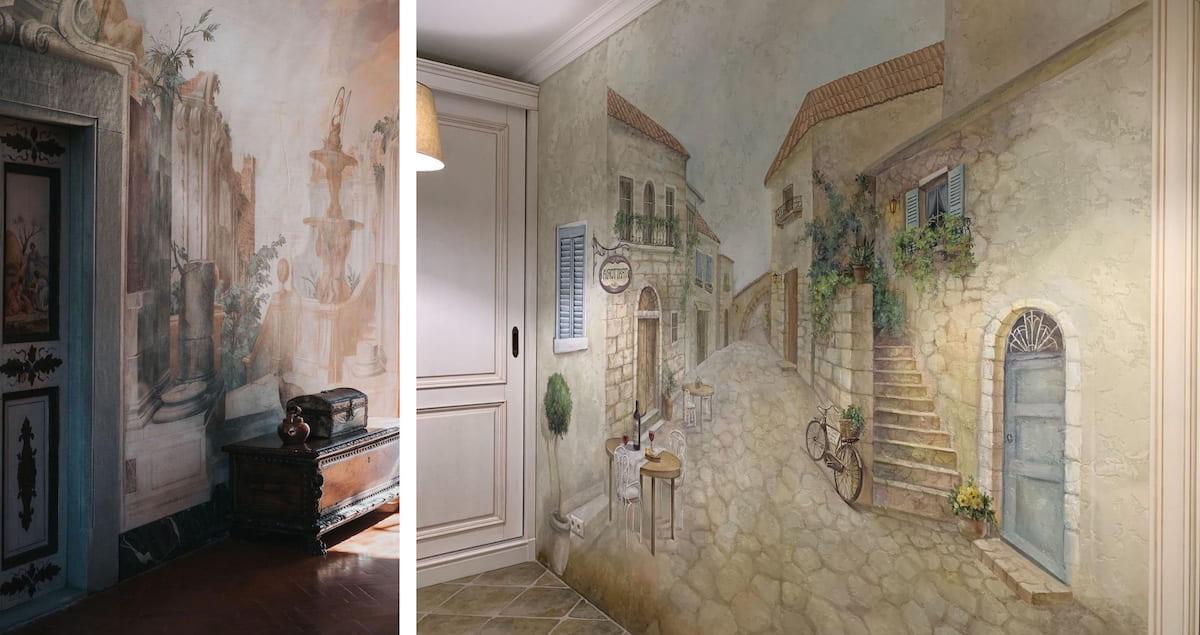 Фреска на стенах – популярный прием при оформлении интерьера в стиле модерн