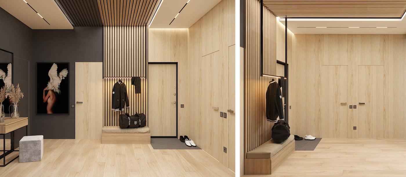 Дизайн прихожей в стиле минимализм с МДФ панелями на стенах