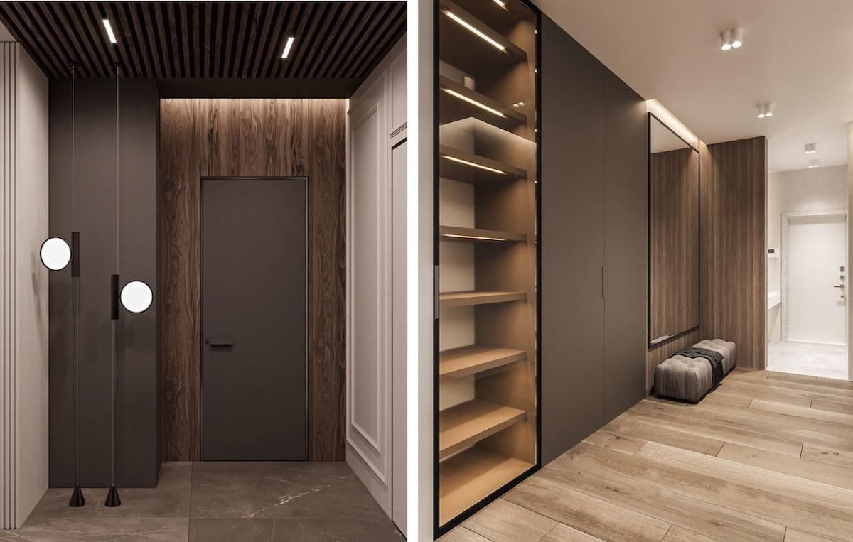 Практичный и элегантный дизайн прихожей в коричневых тонах