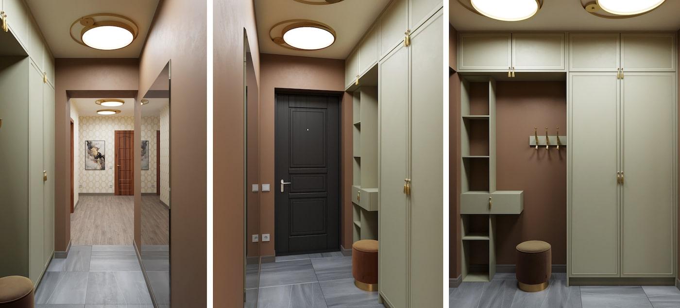 Красивое сочетание цвета стен с мебелью в прихожей