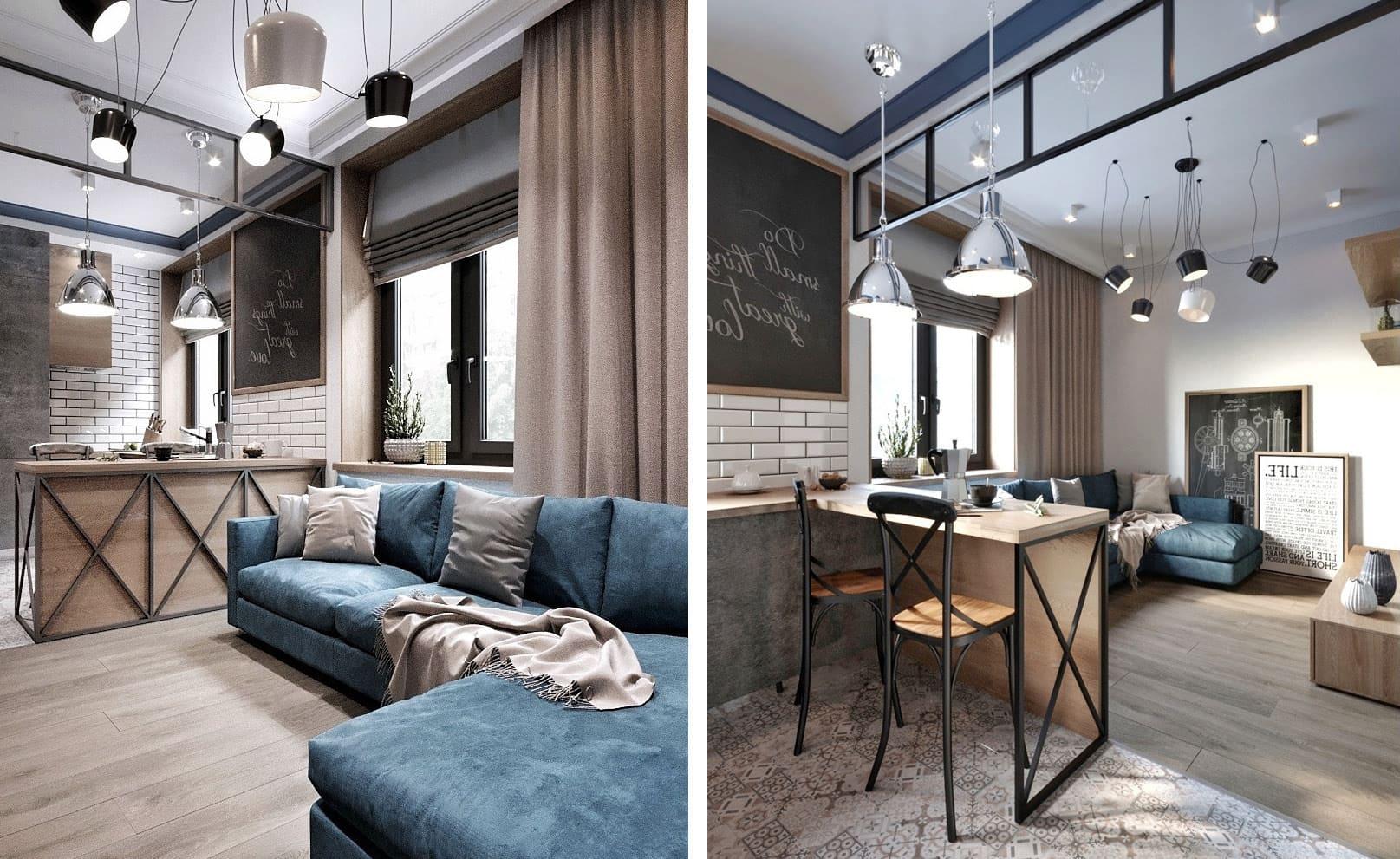 дизайн однокомнатной квартиры фото 37